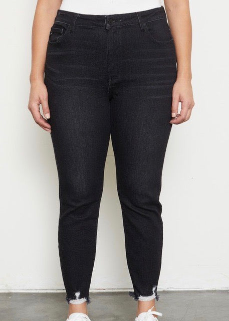Kan Can Black High Rise Skinny Chewed Hem Jeans