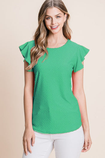 Kelly Green Swiss Dot Ruffle Sleeve Top