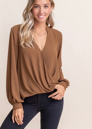 Life of the Party Chiffon Top - Golden Brown Sugar