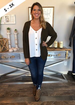 Lace Up Cardigan - Olive