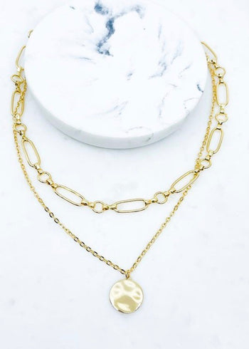 Gold Two Layer Circle Necklace