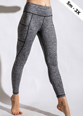 NINES Heathered Yoga Waist Pocket Leggings - 2 Colors!