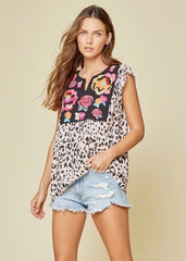 Leopard Embroidered Ruffle Sleeve Tank