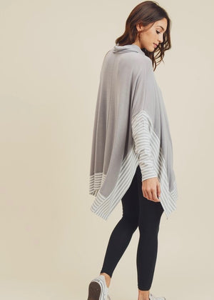 Out & About Striped Poncho Top - Gray