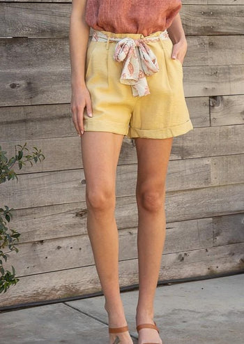 Belted Linen Shorts - 2 Colors!