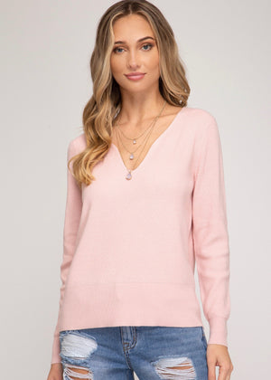 Wavy V-Neck Pullover - Light Pink