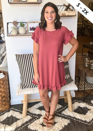 Marsala Butter Soft Ruffle Dress
