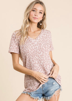 Dusty Mauve Animal Print Tee