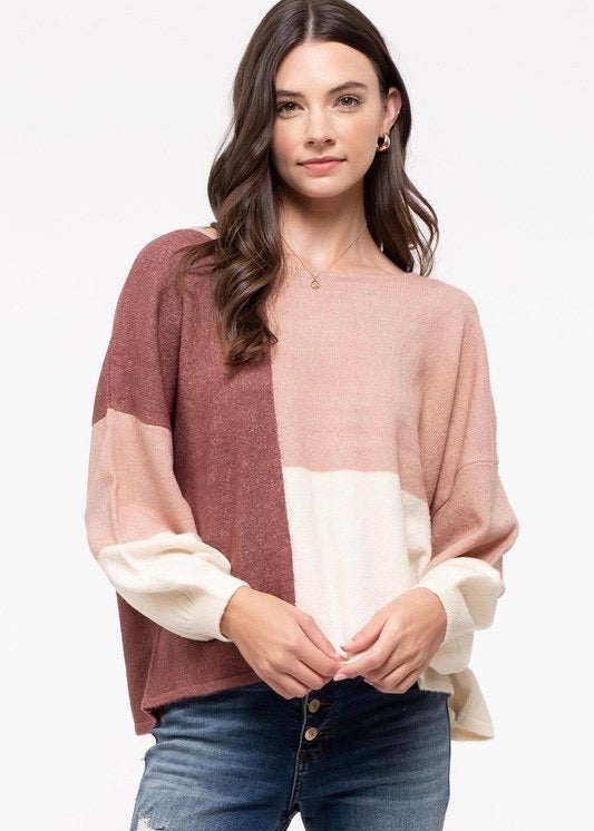 Pink Colorblock Tie Back Sweater