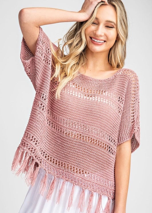 Crochet Fringe Top - Mauve