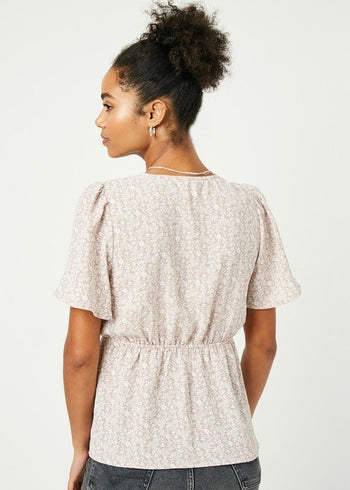 Dusty Mauve Printed Button Peplum Top