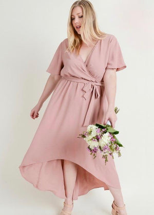 Curvy Mauve Wrap Dress