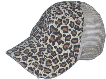 Animal Mesh Back Ponytail Hat
