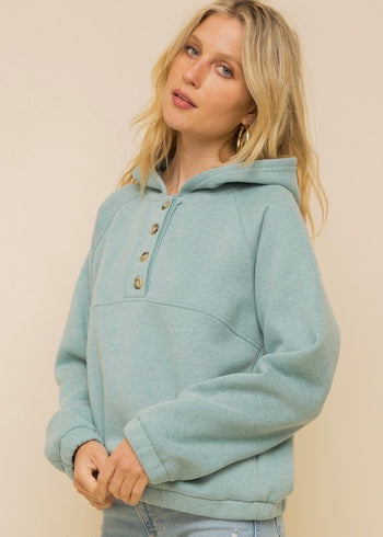 Light Teal Button Hoodie