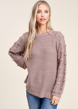 Textured Puffy Sleeve Sweater - Mocha