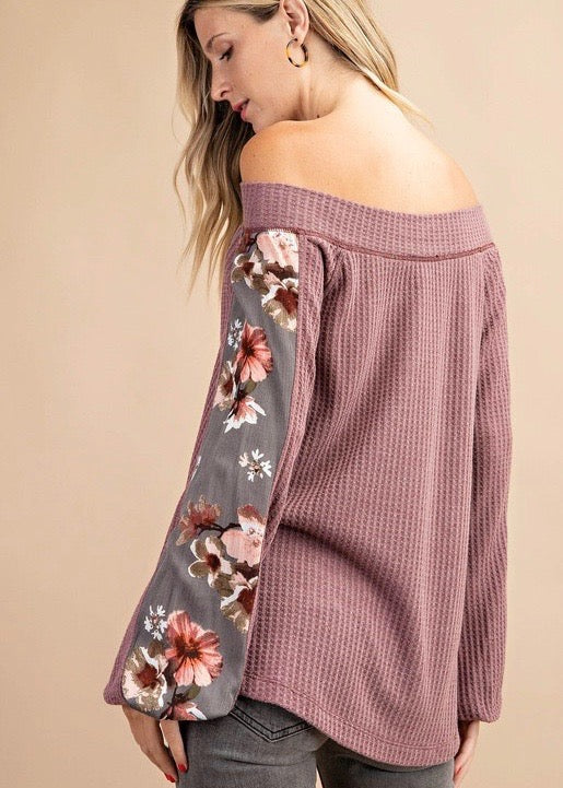 Mulberry Floral Off the Shoulder Top