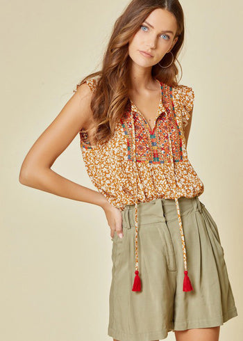 Sunflower Embroidered Floral Tie Tank