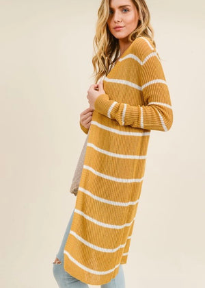 Mustard & White Stripes Duster