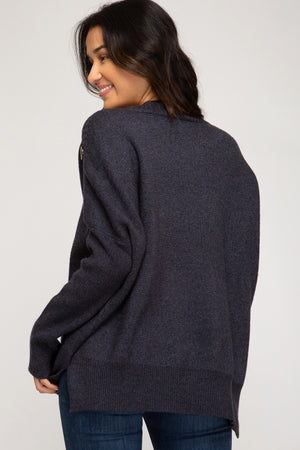 Cozy Button Sweater - Navy