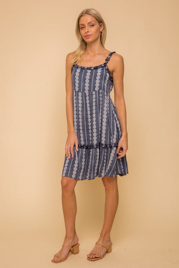Navy Printed Tie Back Dress