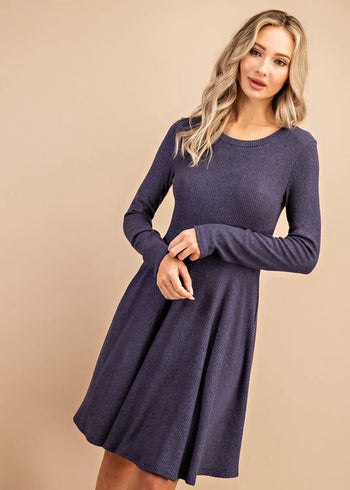 Soft Ribbed Navy Dress