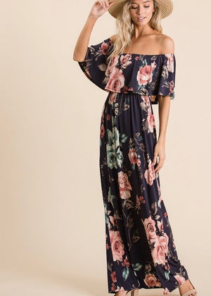 To The Tropics Navy Floral Dress