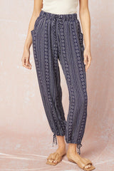 Printed Pocket Cinch Hem Summer Pants - 2 Colors!