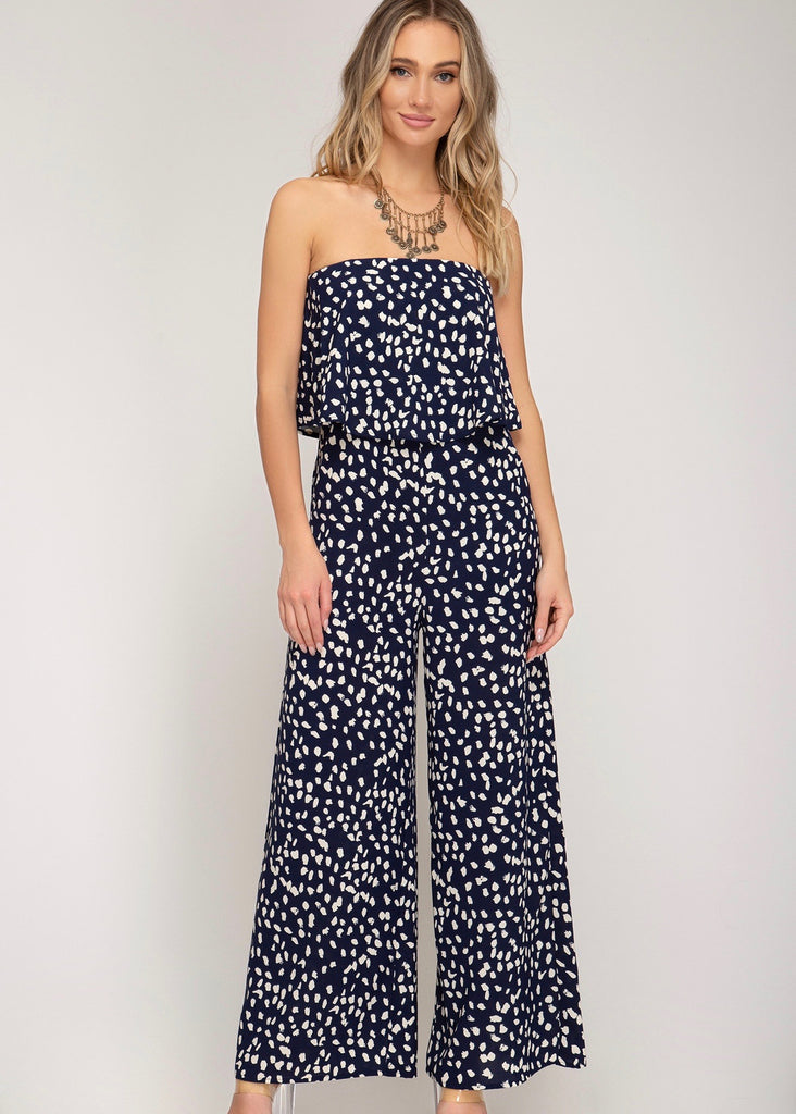 Navy Strapless Jumpsuit