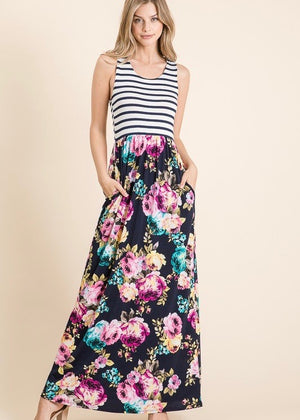 Stripes & Navy Floral Maxi Dress