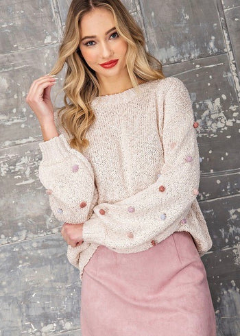 Colorful Pom Sleeve Pullover