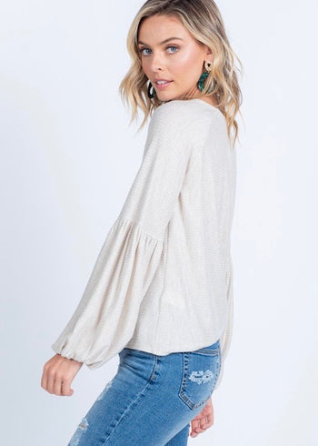 Soft Balloon Sleeve Top - Oatmeal