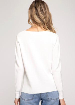 Wavy V-Neck Pullover - Off White