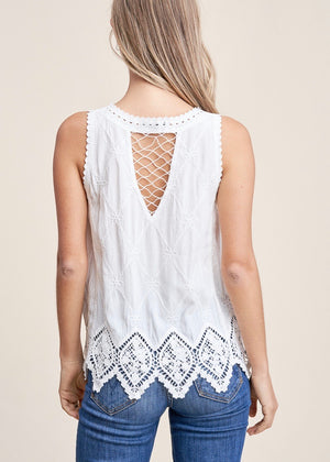 Floral Lace Tank - Off White