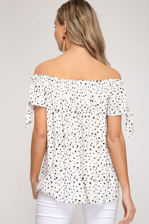 Off White Dotted Off the Shoulder