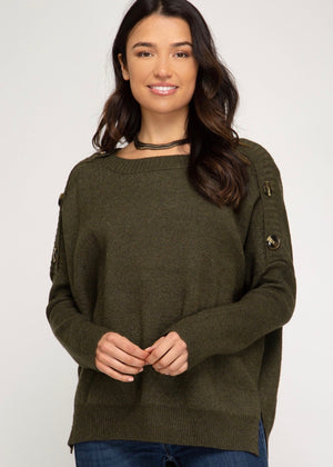 Cozy Button Sweater - Olive