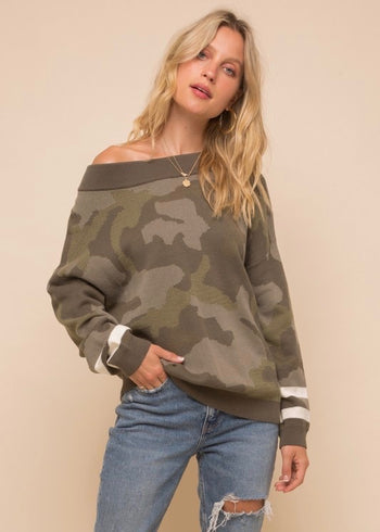 Hidden Love Camo Sweater