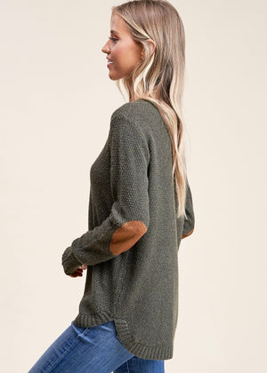 Elbow Patch Pullover - Olive