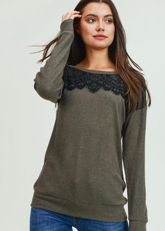 Olive Lace Detail Top