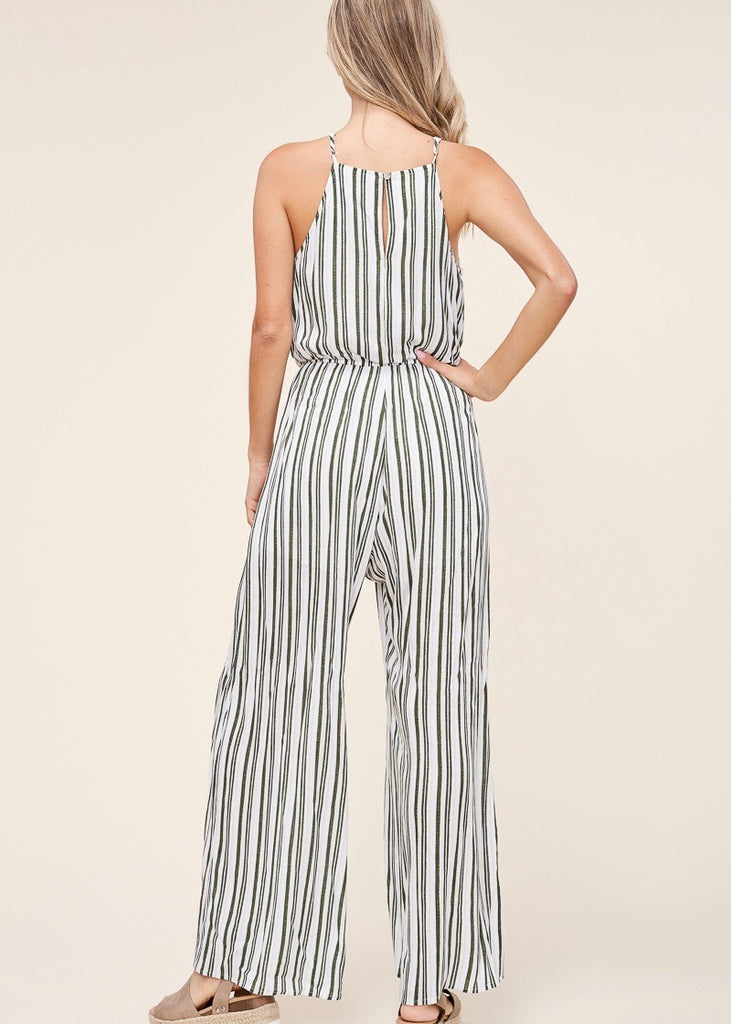 Olive and Peach Striped Jumpsuit