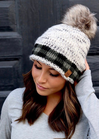 Plaid Accent Pom Hats - 2 Styles!