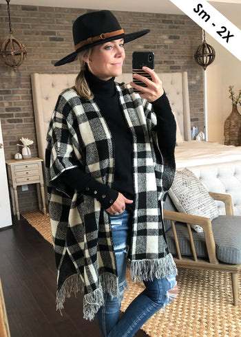 Black Plaid Sweater Poncho