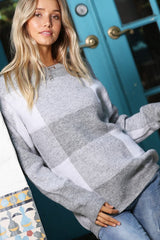 Heather Gray Plaid Pullover