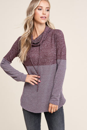 Plum Cowl Top