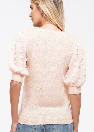 Light Blush Pom Pom Sleeve Top