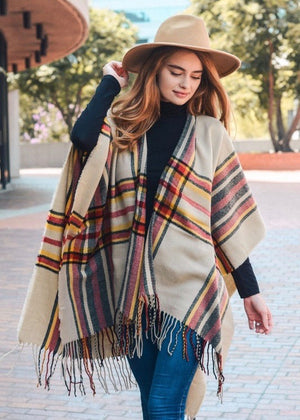 Poncho Plaid Wrap - Cream and Red