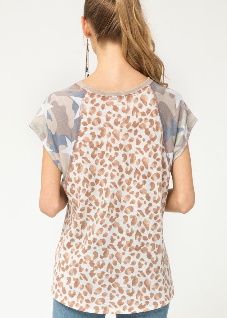 Printed Camo Sleeve Top