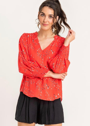 Red Printed Smocked Sleeve Blouse