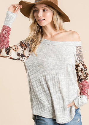 Mixed Pattern Sleeve Top