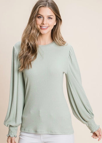 Ribbed Smocked Sleeve Tops - 2 Colors!