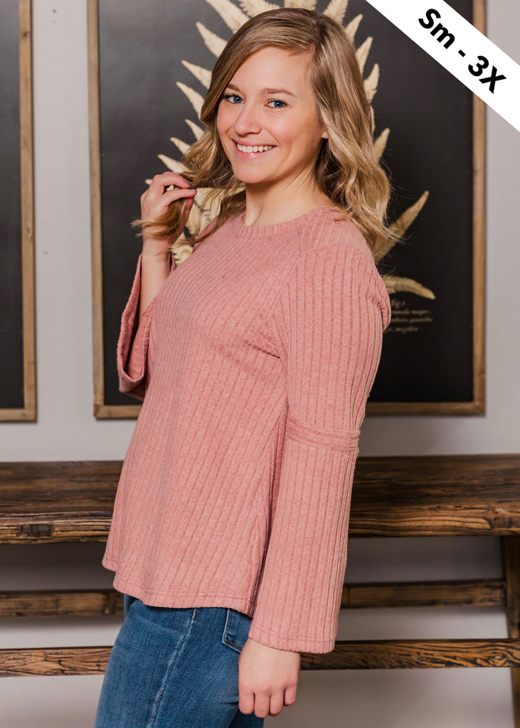 Ribbed Flare Sleeve Tops - 2 Colors!